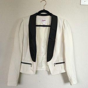 Cream blazer with black details
